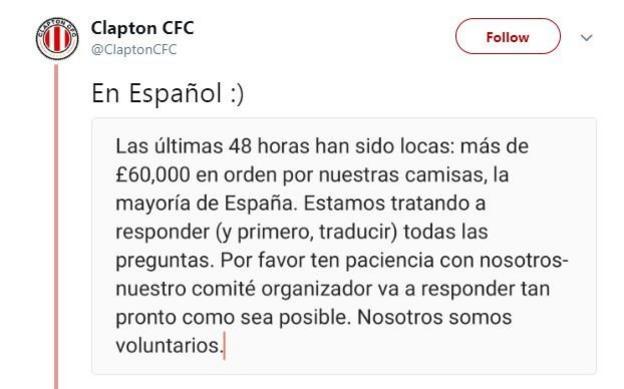 Clapton CFC Tweet