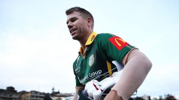 David Warner: Banned Australian walks off field after 'sledging incident' in club game thumbnail