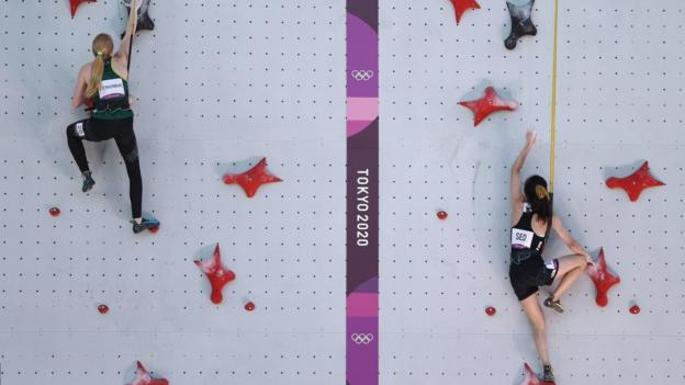 Erin Sterkenburg of South Africa and Chaehyun Seo of Republic of Korea compete in Sport Climbing