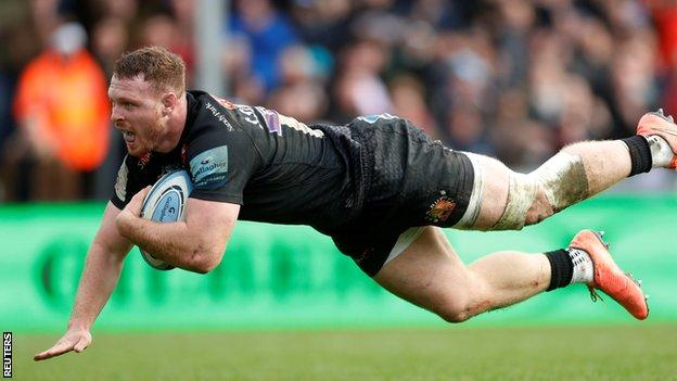 Sam Simmonds scores Exeter's eighth try