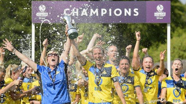 Doncaster Rovers Belles celebrate winning the 2017-18 WSL 2 title