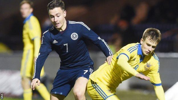 Rangers winger Barrie McKay played for Scotland U21s in a 2-2 draw with Ukraine U21s
