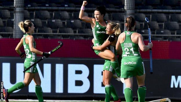 Ireland women celebrate after scoring a goal at last year's Euro Hockey Championship