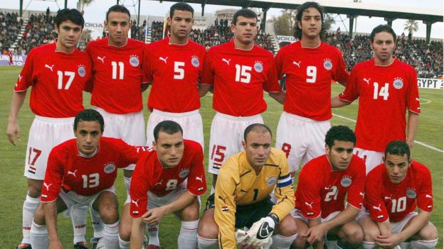 Nader El Sayed, in yellow, lines up for Egypt