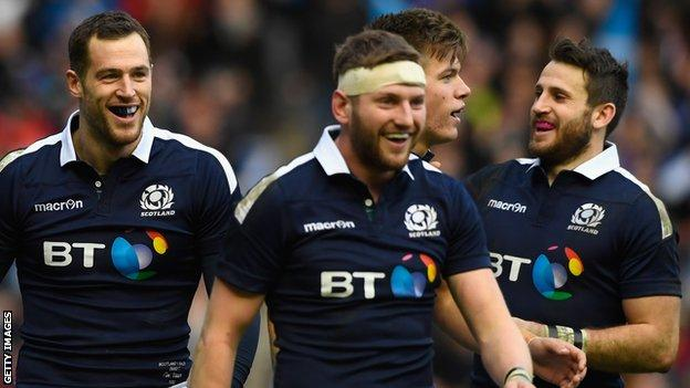 Tim Visser, Finn Russell, Huw Jones and Tommy Seymour celebrate a Scotland try against Wales
