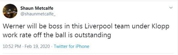 Liverpool fan tweet