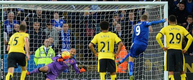 Jamie Vardy scores against Watford