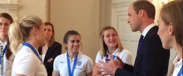 Prince William, Duke of Cambridge, and the England Women's team