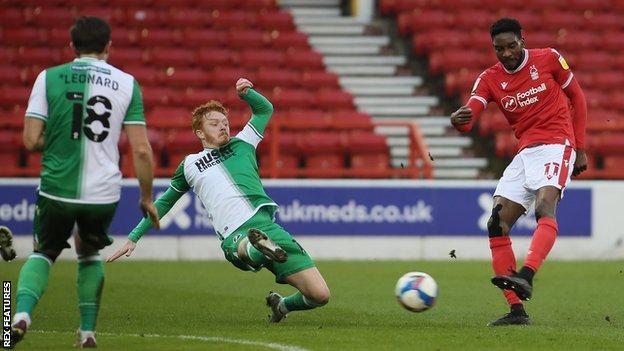 Sammy Ameobi (right) scores for Nottingham Forest against Millwall