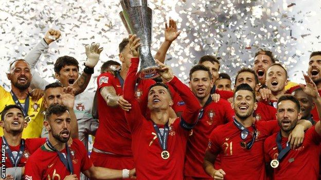 Portugal lift the Nations League trophy in 2019