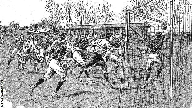 An illustration of one Fred Spiksley's goals for England against Scotland
