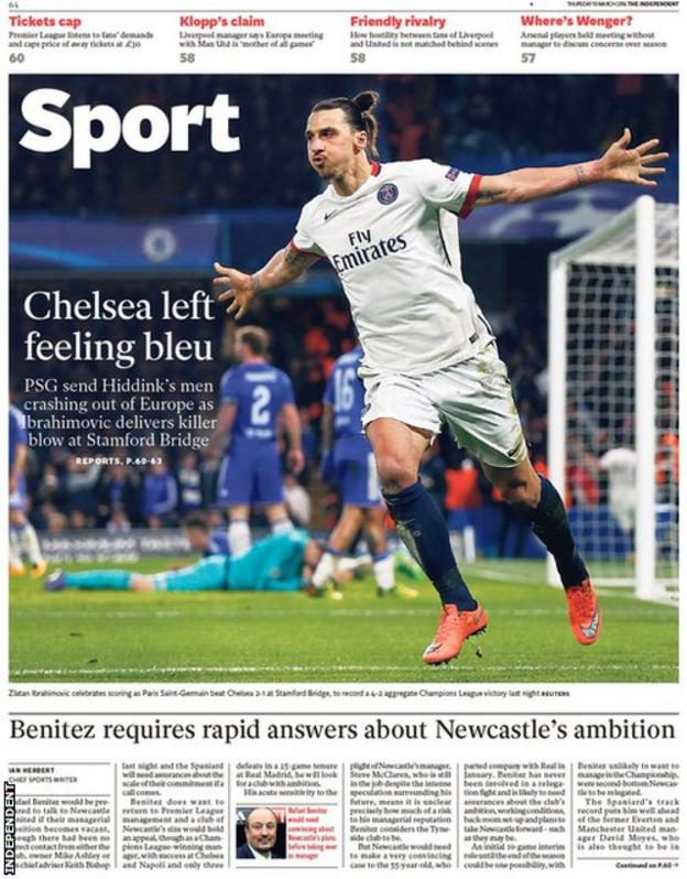 Thursday's Independent back page