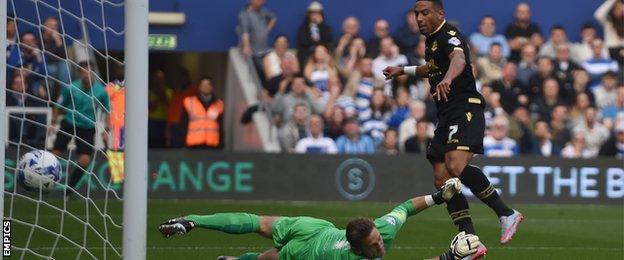 Bolton's Liam Feeney scores past Robert Green