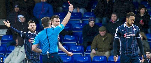 Ross County defender Jamie Reckord is sent off against Hamilton Academical