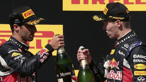 Red Bull's Daniel Ricciardo and Daniil Kvyat