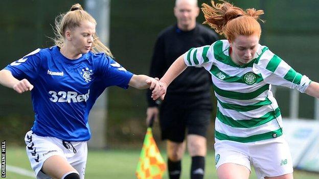 Brogan Hay of Rangers battles Celtic's Colette Cavanagh in the women's Old Firm derby