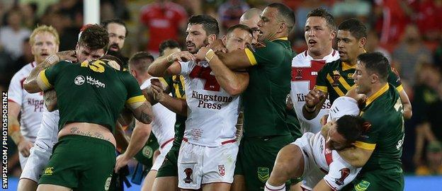 England and Australia players tussle as tempers fray