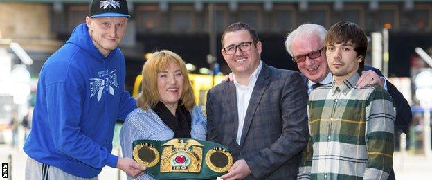 Heavyweight Gary Cornish, promoter Kellie Maloney, Iain Wilson, Tommy Gilmour and (right) Mike Towell
