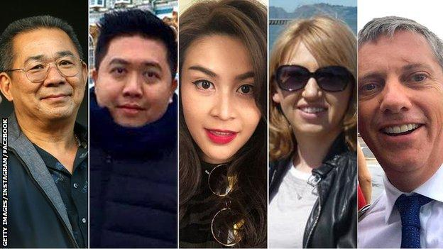 Vichai Srivaddhanaprabha, Kaveporn Punpare, Nusara Suknamai, Izabela Roza Lechowicz and Eric Swaffer were killed in the crash