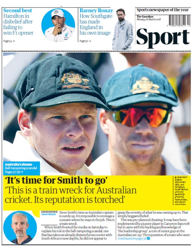 Guardian back page on Monday
