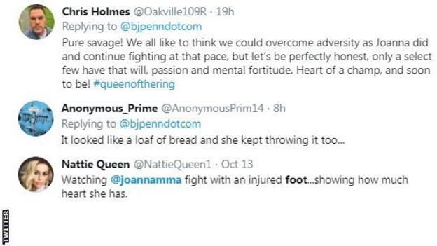 Twitter reaction to Joanna Jedrzejczyk winning with a broken foot