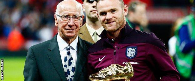 Wayne Rooney and Sir Bobby Charlton