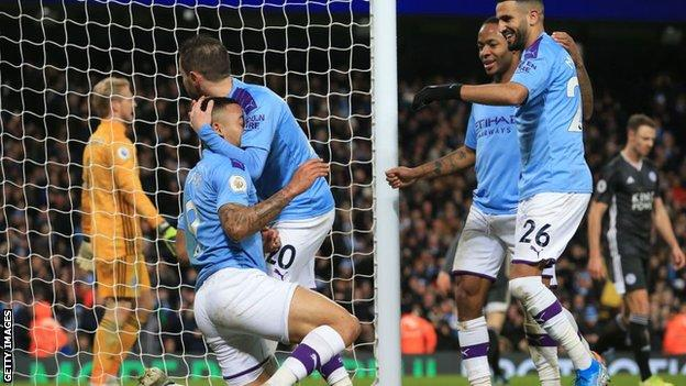 Manchester City celebrate against Leicester