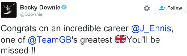 Becky Downie tweet