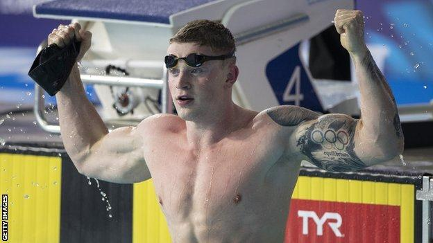 Adam Peaty celebrates winning the 50m breaststroke at the 2018 European Swimming Championships in Glasgow