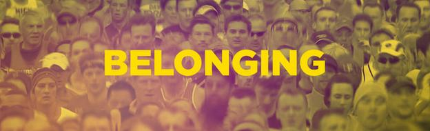 Runners in a mass partipation race with the word 'belonging' superimposed