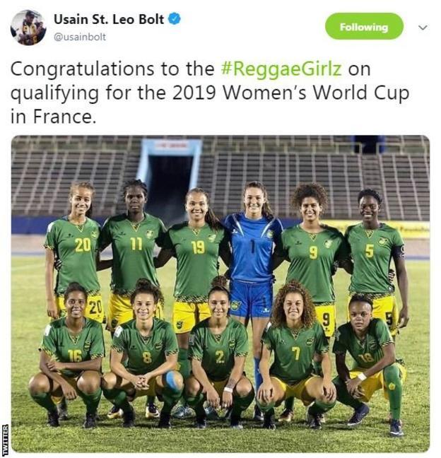 Usain Bolt tweeted the Reggae Girlz his congratulations