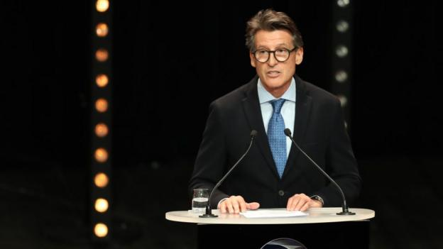 science World Athletics President Sebastian Coe speaks at a ceremony in 2019