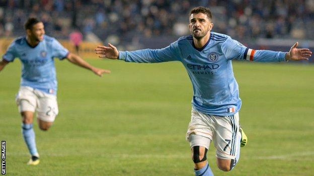 David Villa celebrates scoring for New York City