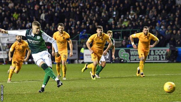 Florian Kamberi missed from the penalty spot before Hibs found an equaliser