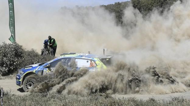 Kenyan driver Onkar Rai in action on the Safari Rally