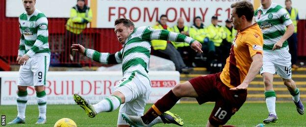 Kris Commons has a chance for Celtic against Motherwell
