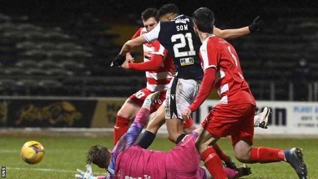 Dundee striker Osman Sow's finish eventually saw off battling Bonnyrigg Rose