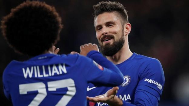 Willian and Giroud star as Chelsea ease past Hull