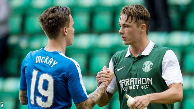 Hibernian's Scott Allan (right) with Barrie McKay at full time at Easter Road