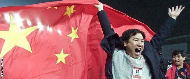China qualified for the 2002 World Cup in Japan and South Korea, but lost three out of three group games, scoring none and conceding nine