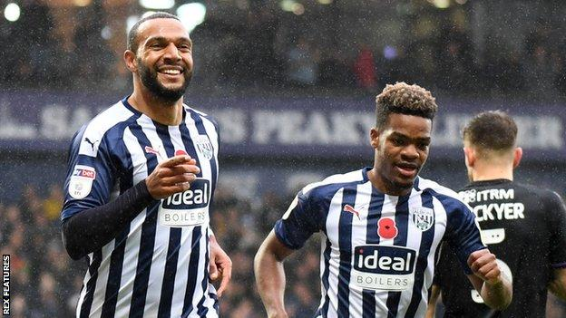 Matt Phillips (left) and Grady Diangana celebrate a West Bromwich Albion goal
