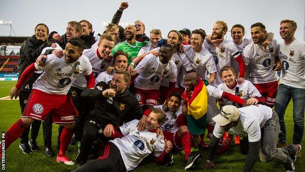 Ostersunds celebrate their Swedish Cup win