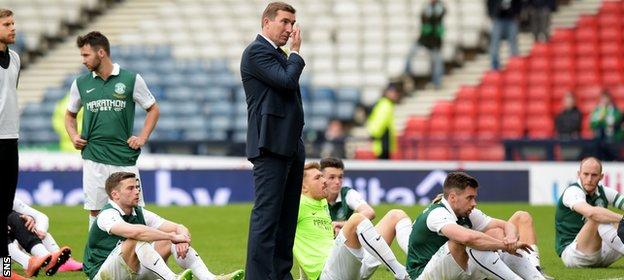 There was little to comfort Alan Stubbs and his Hibernian players after losing the final in the final minute
