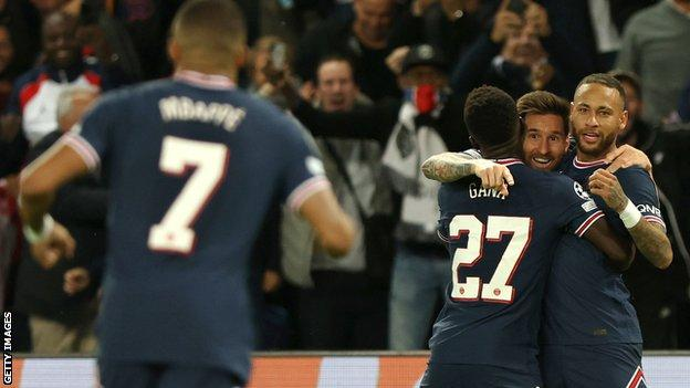 Lionel Messi celebrates his goal against Manchester City - his first for PSG