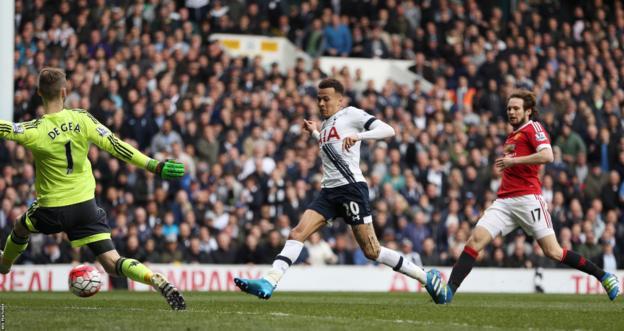 Dele Alli scores for Tottenham against Manchester United