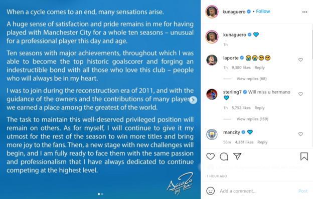 Sergio Aguero's announcement on Instagram