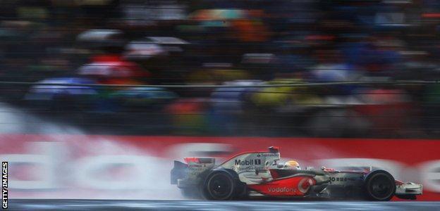 Lewis Hamilton wins the British Grand Prix in 2008