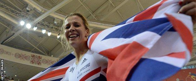 Becky James waves the British flag