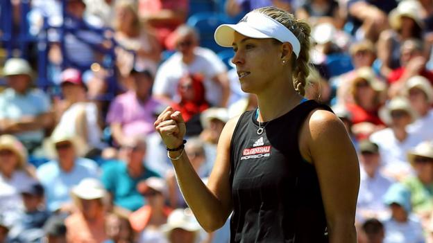 Eastbourne International: Angelique Kerber through to semi-finals after beating Simona Halep thumbnail