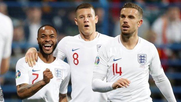 England players Raheem Sterling, Ross Barkley and Jordan Henderson celebrate